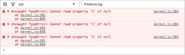 Chrome 開発ツール エラー表示