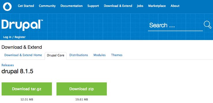 Drupalダウンロード画面